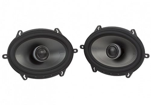Polk Audio MM572 speakers front and angle view